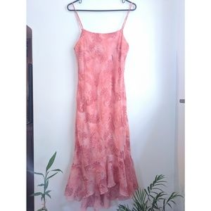 Early 00s Coral Paisley Print Fishtail Slip Dress